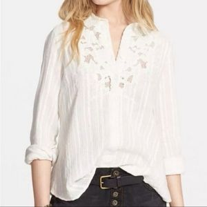Free People Carter Dobby Button Down Lace Top